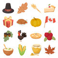 Canadian Thanksgiving Day set icons in cartoon style. Big collection of canadian Thanksgiving Day vector illustration symbol. Royalty Free Stock Photo
