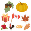 Canadian Thanksgiving Day set icons in cartoon style. Big collection of canadian Thanksgiving Day vector symbol stock Royalty Free Stock Photo
