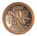 Canadiense brillante una moneda del centavo Fotos de archivo