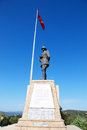 Canakkale monument conkbayiri in turkey and a turkish flag Stock Photography