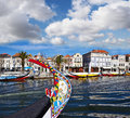 Canal of aveiro portugal traditional boats Royalty Free Stock Photos