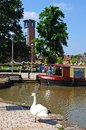 Canal basin and RSC, Stratford-upon-Avon. Royalty Free Stock Photo