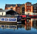 Canal basin worcester uk diglis harbour port marina barge barges narrow boat boats and birmingham inland waterway canals Stock Photography