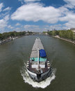 Canal boat in the Seine Royalty Free Stock Photos