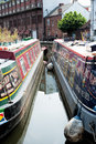 Canal boats in their moorings in birmingham england Stock Photography