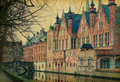 A canal in bruges belgium photo retro style paper texture Stock Images
