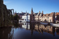 Canal in bruges images showing a medieval buildings reflect the water a calm afternoon Royalty Free Stock Photo