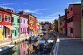 A canal in Burano Royalty Free Stock Photo