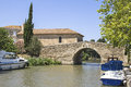 Canal du midi with boat france from the town le somail langueduc roussillon Royalty Free Stock Images
