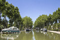 Canal du midi in provence france boat southern Stock Photos