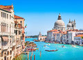 Canal grande and basilica di santa maria della salute venice italy famous with Royalty Free Stock Images