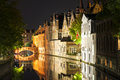 Canal houses bruges illuminated and their reflections in flanders belgium captured at night Royalty Free Stock Photography