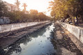 Canal in india puducherry january with sewage is splitting french part of the city from indian part puducherry also known as Royalty Free Stock Image