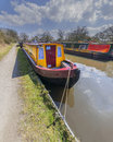 A canal on the inland waterways network of navigable canals and waterways in the english and british countryside in the uk united Royalty Free Stock Photos