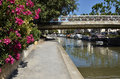 Canal at narbonne in france of the robine de la robine with nerium oleander flower the foreground town located the aude Royalty Free Stock Photography