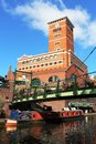 Canal narrow boat under footbridge Birmingham Royalty Free Stock Photo