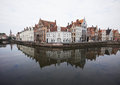 Canal reflection in bruges belgium Stock Image