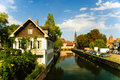Canal on the river Ill with old town in Strasbourg Royalty Free Stock Photo