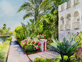 Canal rose garden roses bloom by a sidewalk along a in venice ca in a watercolor painting Stock Images