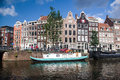 Canal Scene on Prinsengracht in Amsterdam Royalty Free Stock Photo