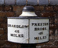 Canal sign mile marker on the trent and mersey Royalty Free Stock Image