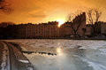 Canal st Matin under ice in Paris Royalty Free Stock Photography