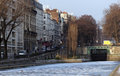 Canal st Matin under snow in Paris Stock Image