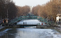 Canal st Matin under snow in Paris Stock Photo