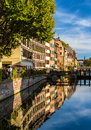 Canal in Strasbourg Old Town - France Royalty Free Stock Photo