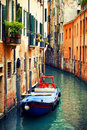 Canal in venice italy beautifu famous canals with boat Royalty Free Stock Photos