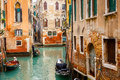 Canal in venice narrow italy Royalty Free Stock Photos