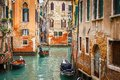 Canal in venice narrow italy Stock Image