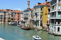Canale grande venice italy with gondols and colorful buildings in Royalty Free Stock Photos