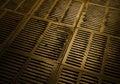 Canalization and urban sewerage metallic hatch underground