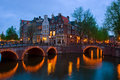 Canals of Amsterdam, the Netherlands at dusk Stock Photography