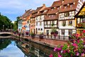 Canals of Colmar, France with reflections Royalty Free Stock Photo