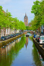 Canals and old cathedral of Delft, Holland Royalty Free Stock Photography
