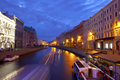 Canals of st petersburg night city Royalty Free Stock Photo
