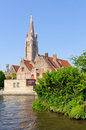 Canals and the St. Salvator's Cathedral in Bruges, Belgium Royalty Free Stock Photo
