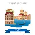 Canals of Venice gondola Italy flat vector attraction landmark Royalty Free Stock Photo