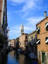 Canals of venice venetian between the apartment buildings Royalty Free Stock Photo