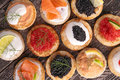 Canape with caviar and salmon Royalty Free Stock Photo