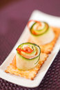 Canape with cucumber Royalty Free Stock Images