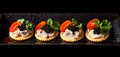 Canape made from biscuit tuna pate tomato pasley and caviar Stock Photo