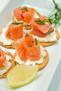 Canape with Salmon Stock Photos