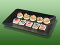 Canape with seafood assorted shrimp and zucchini homemade party food Royalty Free Stock Images