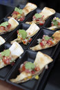 Canape serve in party nan and salsa Royalty Free Stock Photos