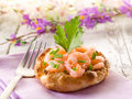 Canape with shrimp Royalty Free Stock Photos