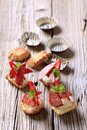 Canapes do Tartlet Foto de Stock Royalty Free