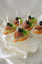 Canapes with ham Royalty Free Stock Photo